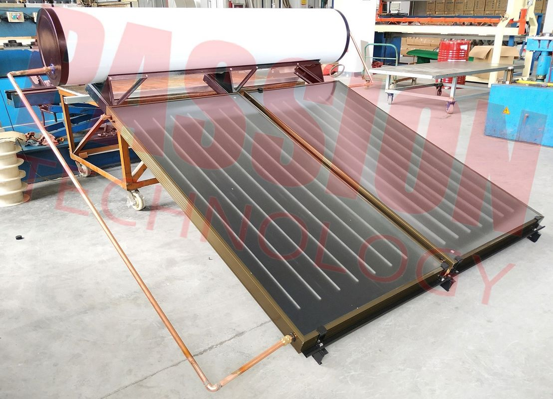 300L 250L Bathroom Flat Plate Solar Thermal Water Heater , Blue Titanium Solar Collector